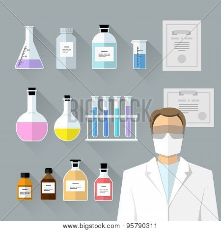 Vector Set - Chemical Designer. Flat Design