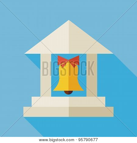 Flat Back To School Building Illustration With Long Shadow