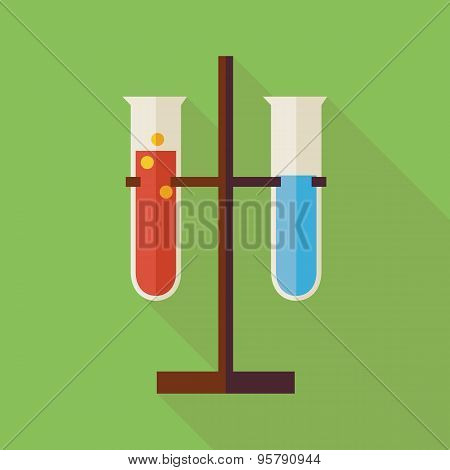 Flat Education And Science Chemistry Two Flasks Illustration With Long Shadow
