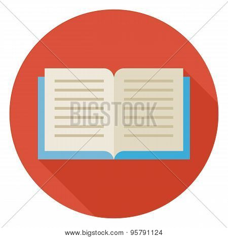 Flat Open Book Circle Icon With Long Shadow