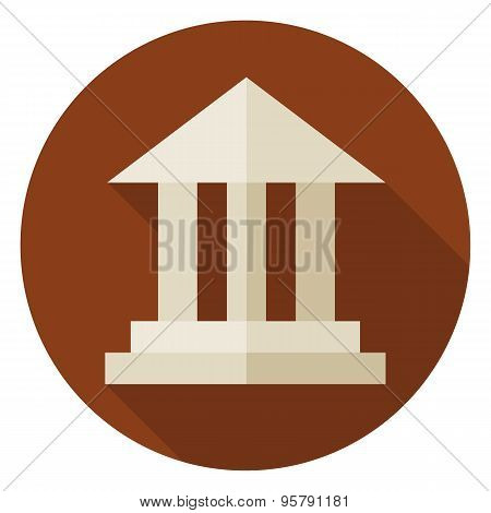 Flat School Building Circle Icon With Long Shadow