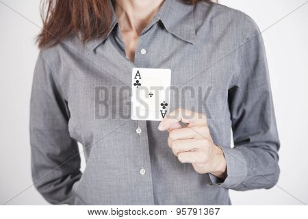 Grey Shirt Woman With Ace Card