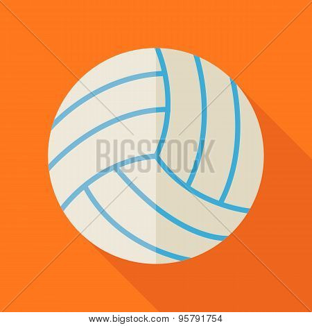 Flat Sports Ball Volleyball Illustration With Long Shadow