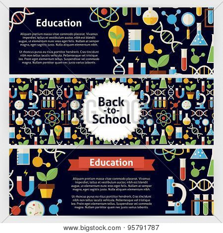 School Science And Education Vector Template Banners Set In Modern Flat Style
