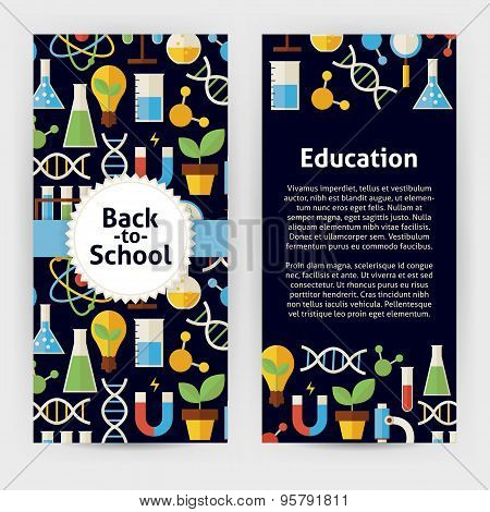 Vector Flyer Template Of Flat Design Back To School Science And Education Objects And Elements