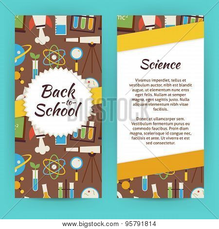 Vector Flyer Template Of Flat Design School Knowledge Science And Education Objects And Elements