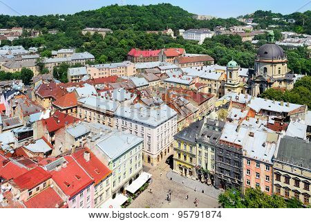 View On The Central Part Of Lviv And The Market Square.