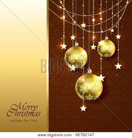 Golden Christmas Balls On Brown Background