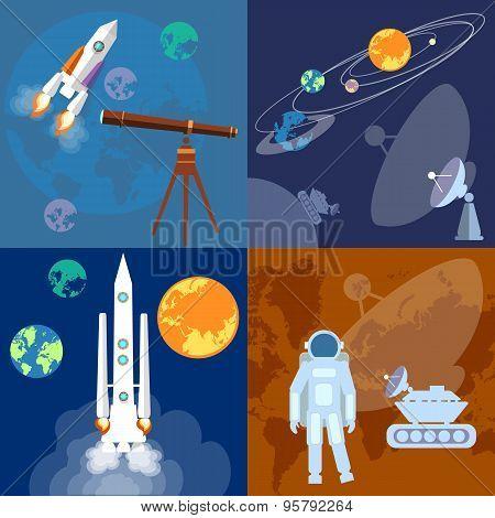 Space Program: Astronaut, Rocket, Planet, Sputnik, Mars Rover, Exploration, Flat Vector Illustration