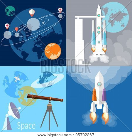 Space Concept:  Spaceship, Rocket, Planet, Orbit, Solar System, Space Exploration, Flat Vector