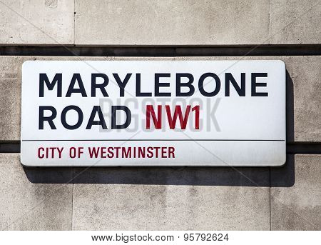 Marylebone Road Street Sign In London