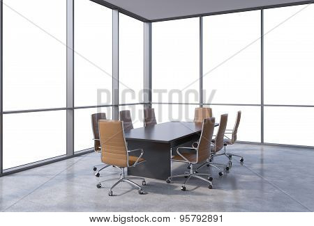Panoramic Conference Room In Modern Office, Cope Space View From The Windows. Brown Chairs And A Bla