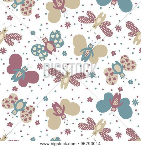 Seamless Color Pattern Butterflies
