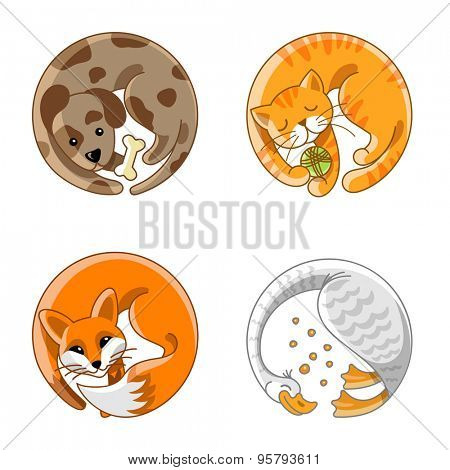 Home Pets Farm Animals circle cartoon icons. Dog, cat, fox, goose creative design illustration circle stickers.
