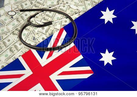 stethoscope against australian flag