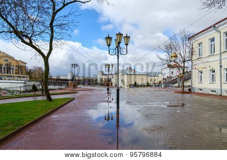 Belarus, Vitebsk. View Of Pushkin Bridge And Holy Spirit Monastery