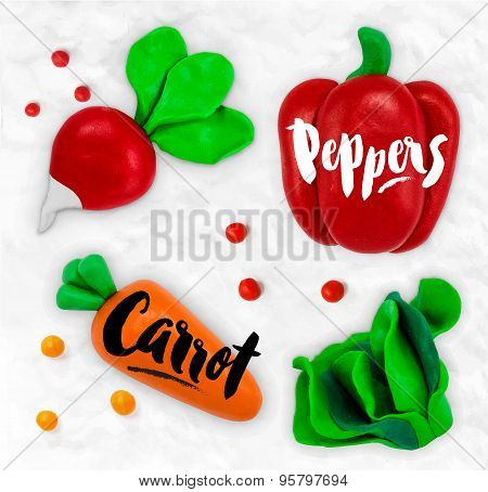 Plasticine vegetables carrot