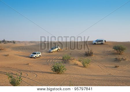 DUBAI, UAE-JANUARY  Jeep safari, 5, 2014 in Dubai, UAE. Jeep safari in the Arab desert.