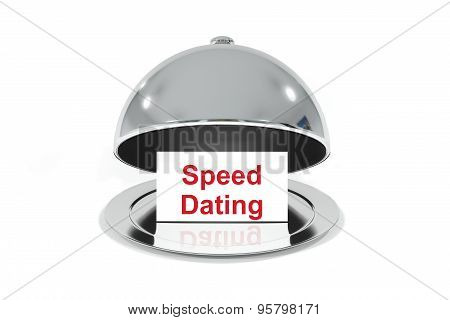 Silver Cloche With White Sign Speed Dating