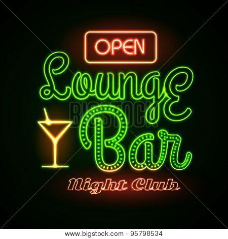 Neon Sign. Lounge Bar