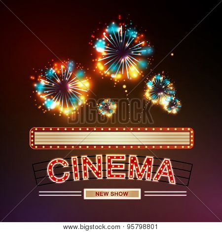 Neon Sign. Cinema And Firework