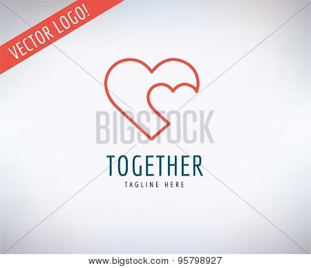 Heart Icon Vector Logo. Love, Health or Doctor and Relations symbols. Stock design element