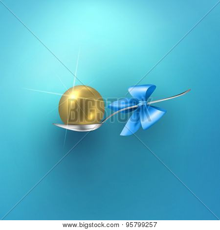 Glossy vector gold sphere in spoon