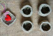 stock photo of knitting  - Handmade product from fibre hand made basket make from knit knitting heart leisure with art hobby lovely creatve - JPG