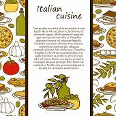 Постер, плакат: Vector italian cuisine concept with cute cartoon hand drawn objects and seamless background: pizza