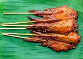 foto of thai cuisine  - Fresh made chicken wing satay skewer Traditional thai cuisine - JPG