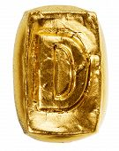 picture of letter d  - Handmade ceramic letter D painted in gold isolated on white - JPG