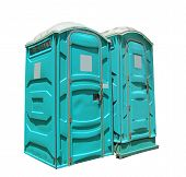 stock photo of porta-potties  - two portable toilets isolated on a white background - JPG