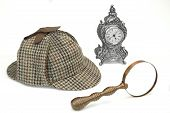 foto of sherlock  - Sherlock Holmes Deerstalker Cap Vintage Magnifying Glass And Old Clock Isolated On White Background - JPG