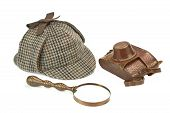 picture of sherlock  - Sherlock Holmes Deerstalker Cap Vintage Magnifying Glass And Retro Camera Isolated On White Background - JPG
