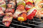 image of braai  - Assorted Roasted Meat with Vegetable On The Hot Barbecue Charcoal Grill - JPG