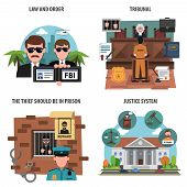 pic of law order  - Law and order flat decorative icons set isolated vector illustration - JPG