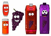 ������, ������: Cartoon grape juice glasses and fruit characters