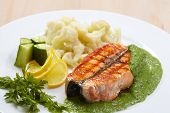 picture of salmon steak  - salmon steak with cauliflower - JPG
