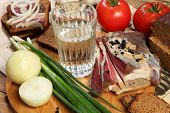 pic of vodka  - Vodka and smoked meat on wooden table - JPG