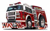 stock photo of big-rig  - Vector cartoon firetruck - JPG