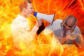 pic of yell  - Businessman yelling with a megaphone at his colleague against fire - JPG