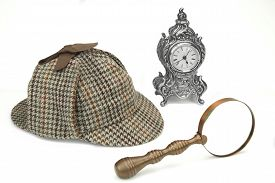 picture of investigation  - Sherlock Holmes Deerstalker Cap Vintage Magnifying Glass And Old Clock Isolated On White Background - JPG
