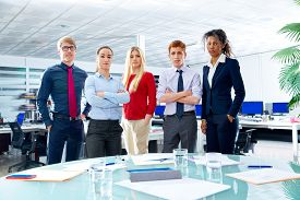 stock photo of youg  - Business executive team youg people standing at office - JPG
