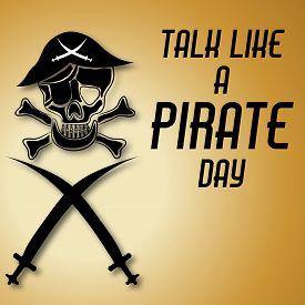 image of pirate sword  - illustration of a skull and sword for International Pirate Day - JPG