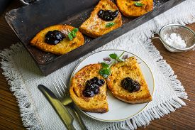 picture of french toast  - Homemade french toast with jam and fresh mint - JPG