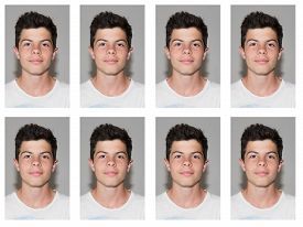 picture of passport template  - identification photo of man for identity card - JPG