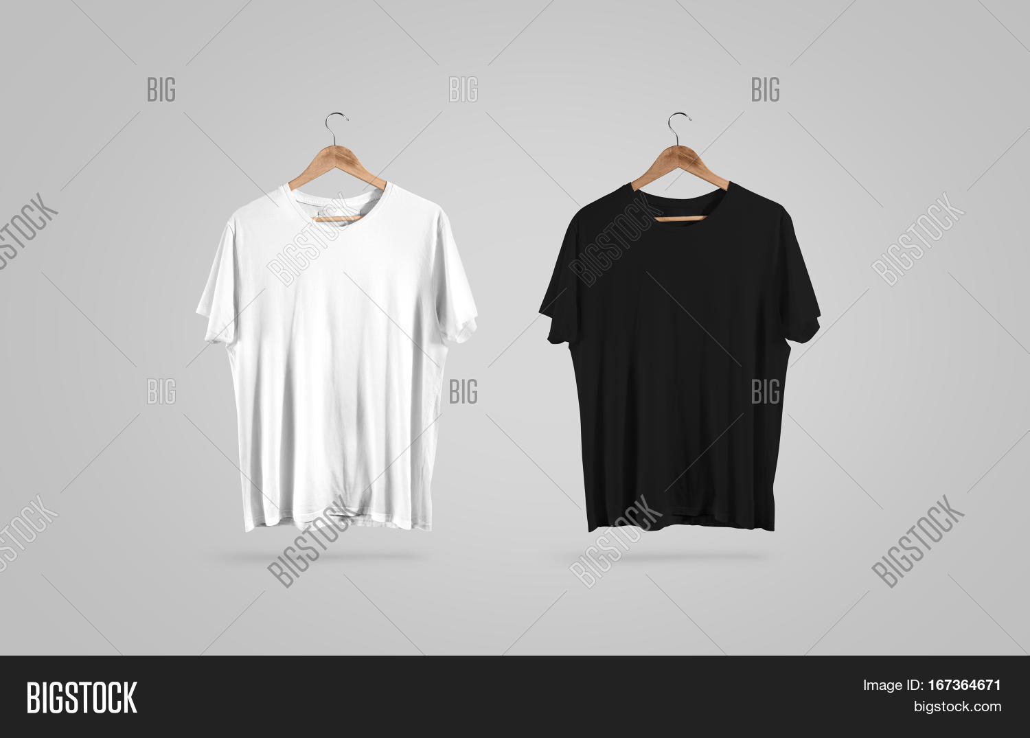 Black t shirt mock up - Blank Black And White T Shirt On Hanger Design Mockup Clear Plain Cotton