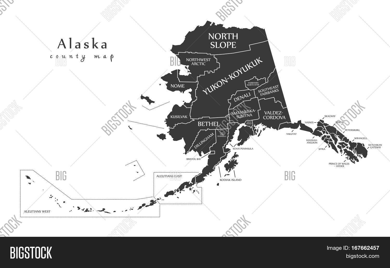 Alaska haines county - Modern Map Alaska County Map With Labels Usa Illustration