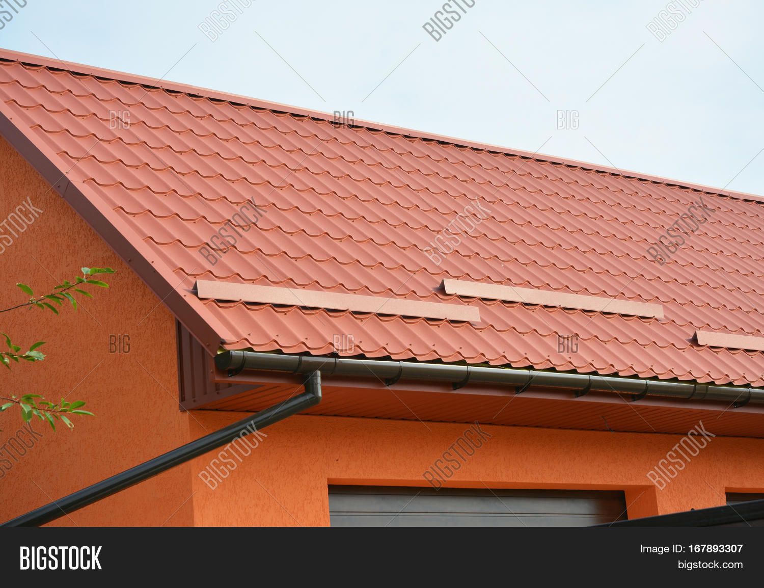 Building Modern House Construction with garage metal roof rain gutter pipeline system and roof protection from & Building Modern House Construction Image u0026 Photo | Bigstock memphite.com