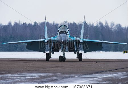 Lukhovitsy,Moscow Region, Russia - January 27,2017: Presentation of the new aviation system MiG-35.